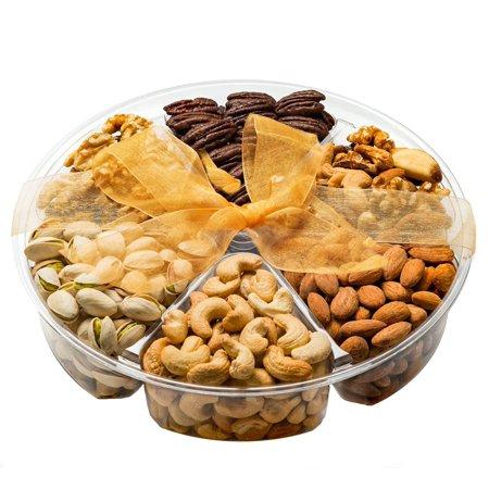 Freshly Roasted 6 Mixed jumbo Food Nuts Gift Basket Healthy & Gourmet Snacks, Almonds, Pistachios, Cashews, Walnuts, Mixed Nuts, Honey glazed pecans Large box - 6 Section (Pistachio Cashew)