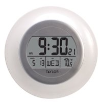 "9.25"" Indoor Atomic Clock with Thermometer, White"