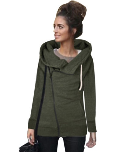 Womens Long Sleeve Hoodie Sweat Jumper Hooded Pullover Hole Tops Blouse US STOCK
