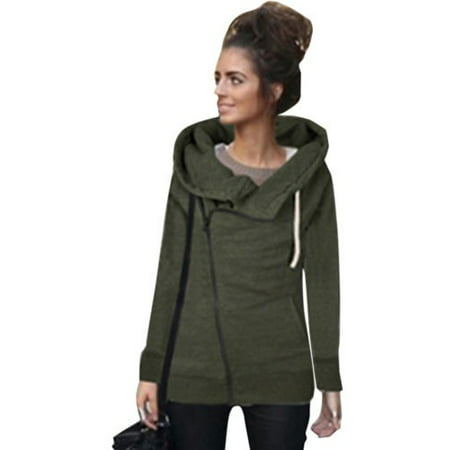 Womens Zipper Hoody Hoodie Sweater Hooded Pullover Long Sleeve Sweatshirt Jumper Coat Tops Outwear -