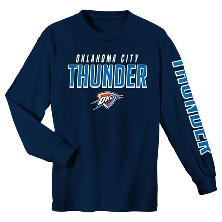 Youth Navy Oklahoma City Thunder Team Wordmark Long Sleeve T-Shirt