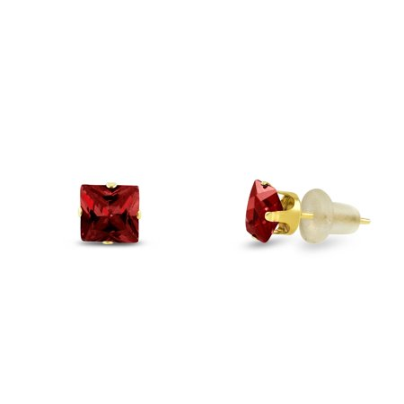 4 Prong Princess Cut Earrings (3x3mm Square Princess Cut Red Garnet CZ Solid 10K Yellow Gold 4-Prong Set Baby Stud)