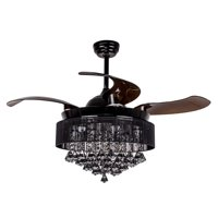 Parrot Uncle Crystal Ceiling Fan with Lights Remote control Modern Chandelier Fan 4 Retractable Blades Ceiling Fan, 4000K Cool LED Light,Black