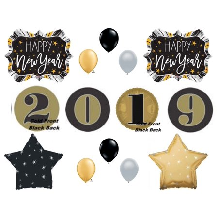 Happy New Year Eve 2019 Black & Gold Numbers Party Balloons Decoration Year's (Decoration For New Year)