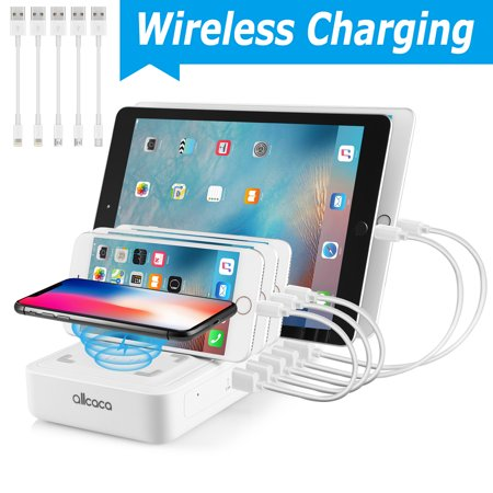 6-Port USB Charging Station for Multiple Devices, Fast Charging Dock Organizer with 5 USB Ports and 1 Qi Wireless Charging Pad for iPhone, ipad, Samsung, Android Phone,