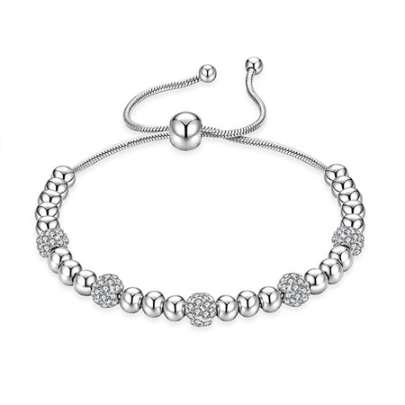Olivia Silver Bead Charm Bracelet Plated For Women Beaded W Cubic Zirconia Beads S Womens