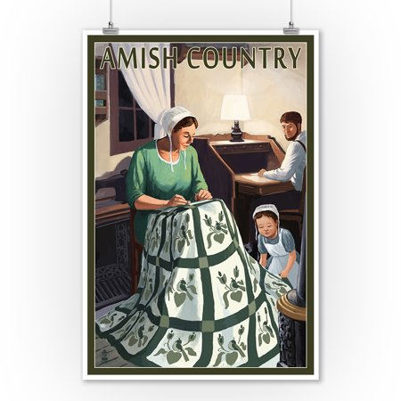 Amish Country - Quilting Scene - Lantern Press Artwork (9x12 Art Print, Wall Decor Travel Poster)