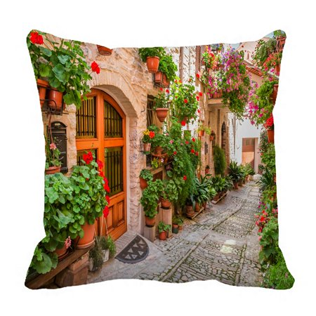 PHFZK European Cityscape Pillow Case, Beautiful Italian Street in Small Provincial Town Pillowcase Throw Pillow Cushion Cover Two Sides Size 18x18
