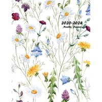 2020-2024 Monthly Planner: Large Five Year Planner with Floral Cover (Volume 6) (Paperback)