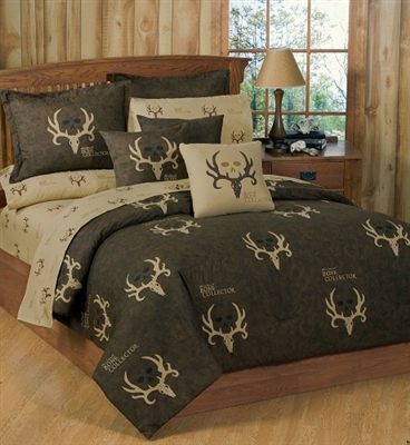 Brown Bone Collector 7 Pc QUEEN SIZE Comforter Set & 1 Ma...