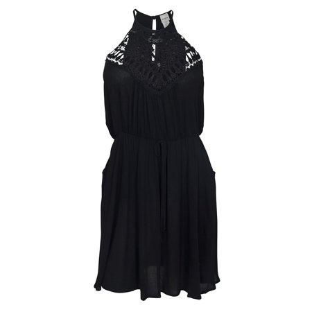 463bf5c05b39a eVogues Apparel - Plus Size Crocheted Illusion Fit   Flare Dress Black -  Walmart.com