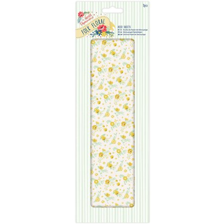 Papermania Folk Floral Deco Sheets 3/Pkg-Yellow Wildflowers