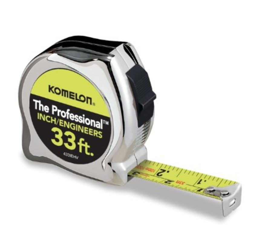 Komelon 33' Professional Chrome Inch/Engineers Tape Measure