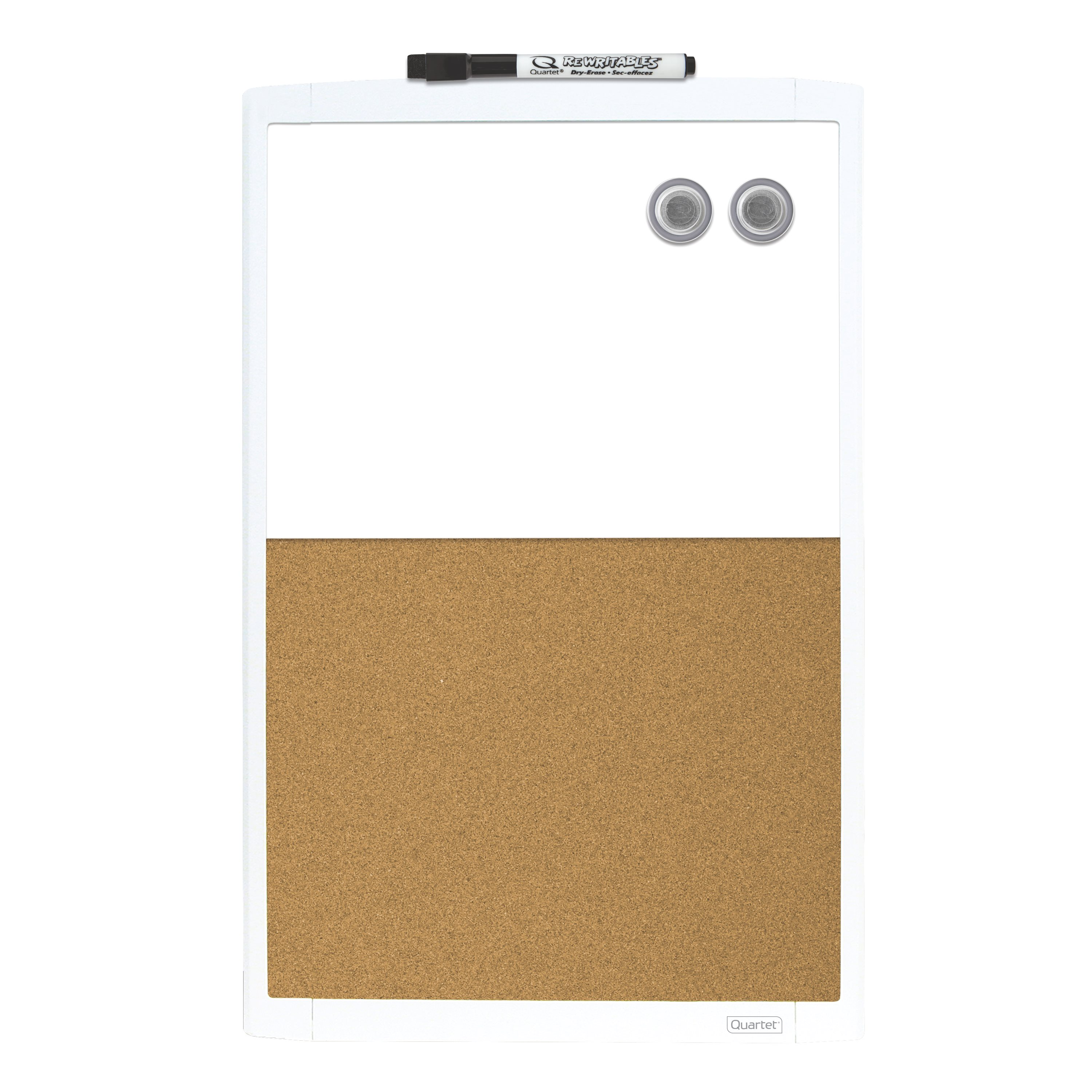 "Quartet Magnetic Combination Board, Cork/Dry-Erase, 11"" x 17"", White Frame (MHOC1117)"