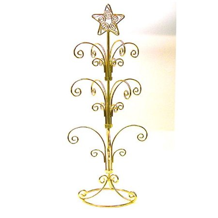 Ornament Display Stand In Bright Gold Holds 12 Christmas or Holiday Ornaments