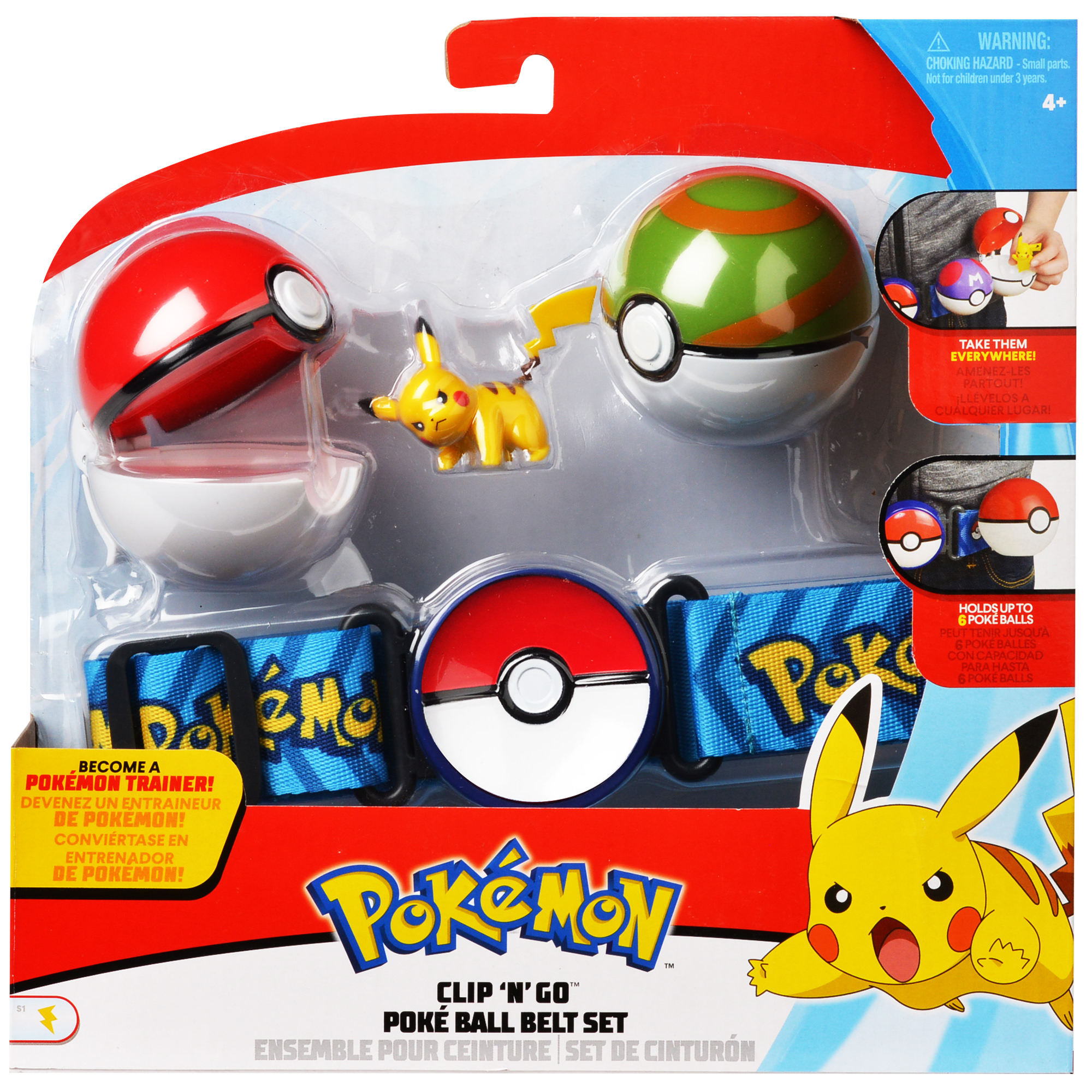 Pokemon Poke Ball Clip N Go Belt Set with 2 Inch Pikachu Figure by Wicked Cool Toys