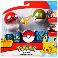 Pokmon Pok Ball Clip N Go Belt Set with 2 Inch Pikachu Figure