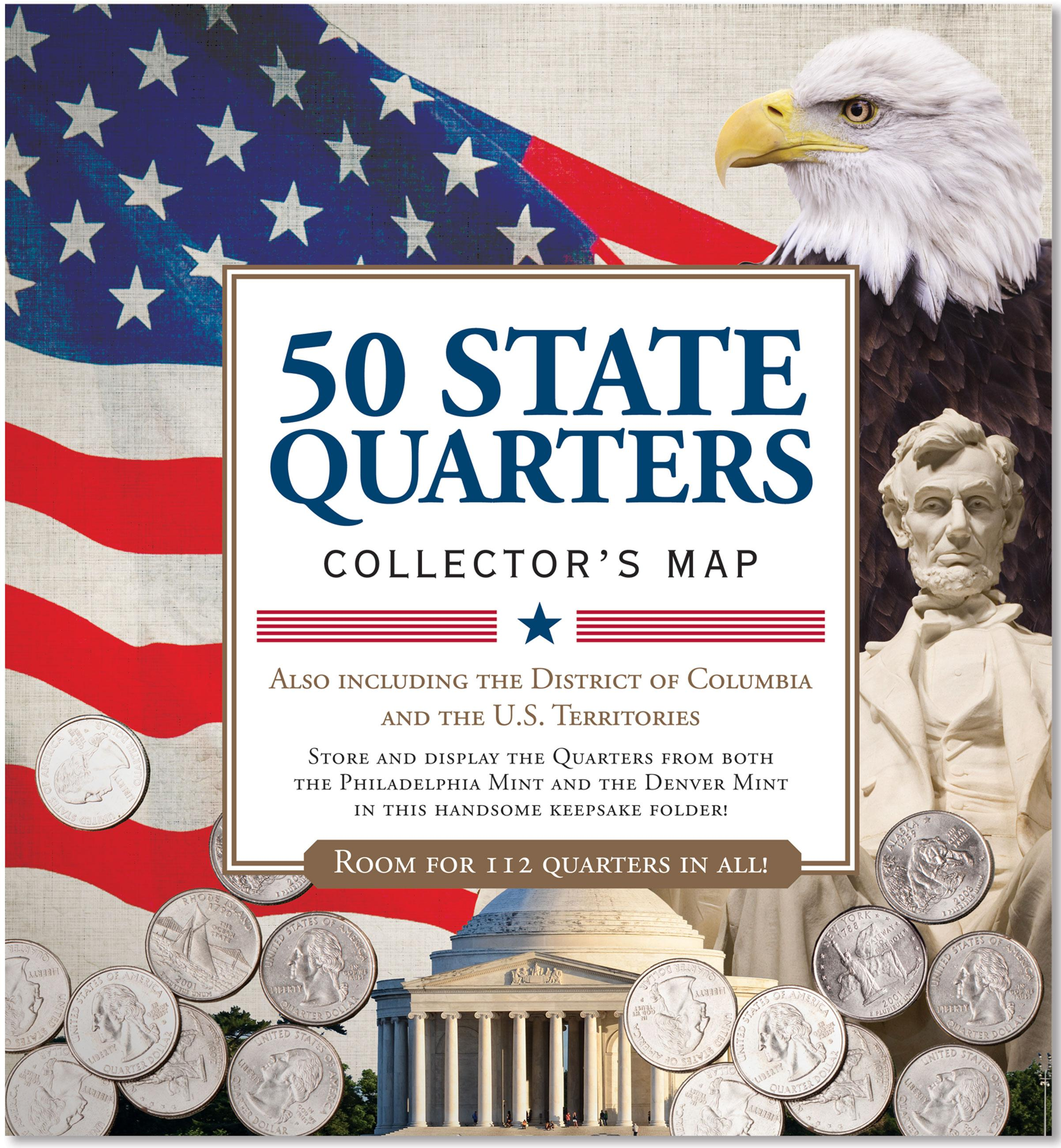50 State Quarters Collectors Map Including the District of