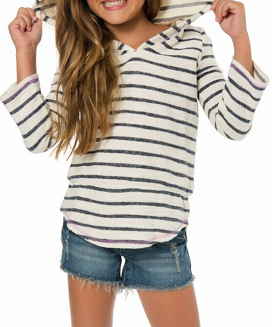 Blue Baby Girl Striped Hooded Cotton Sweater 2T