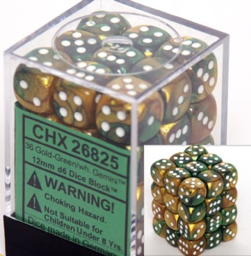 Chessex Dice D6 Sets: Gemini Gold & Green With White