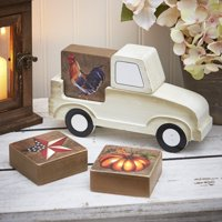 Truck with Seasonal Block Signs - Winter, Easter Shelf Decoration - 5-Pc