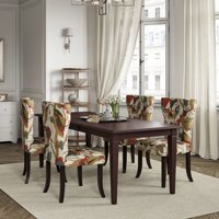 Homesvale Samos 5 Piece Espresso Rectangular Butterfly Leaf Wood Dining Table and Chairs