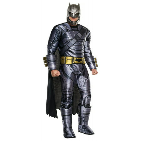 Armor Of God Costume For Adults (Batman Vs Superman: Dawn of Justice Deluxe Armored Batman Men's Adult Halloween Costume, One Size Fits)