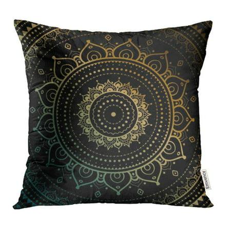 CMFUN Silver Lotus Gold Mandala on Black Ethnic Vintage Pattern Yoga Light Sun Pillow Case Pillow Cover 16x16 inch Throw Pillow