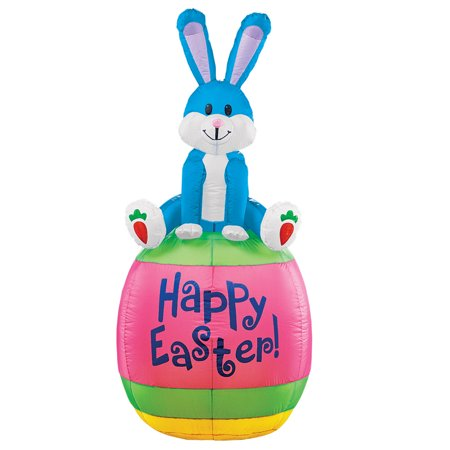 Inflatable Happy Easter Bunny Yard Decoration Stands 5 Ft Tall And