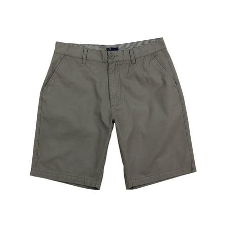 - Men's Flat Front Chino Shorts (Gray, Size 33)