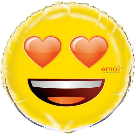 Foil Heart Eyes Emoji Balloon, 18 in, - Valentines Ballons