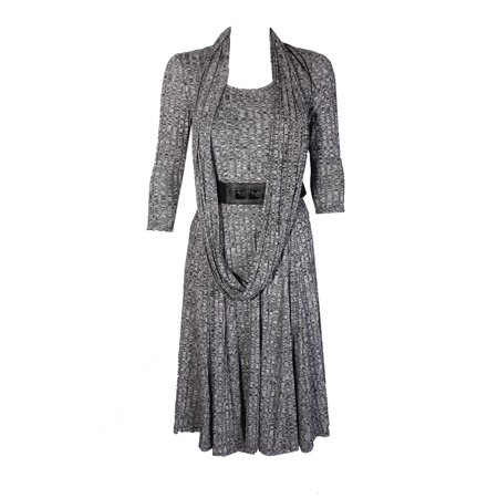 Signature By Robbie Bee Grey 3/4-Sleeve Belted A-Line Dress And Infinity (Linen Belted Dress)