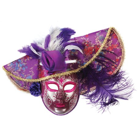 Loftus Feather Hat Full Face Masquerade Venetian Mask, Purple, One Size
