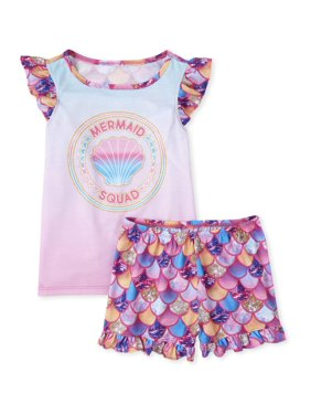 The Childrens Place Girls 4-16 2-Piece Pajama Top & Short Set