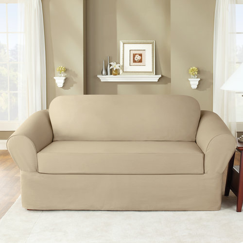 Sure Fit 6 oz Cottin Twill 2-Piece Separate Seat Loveseat Slipcover