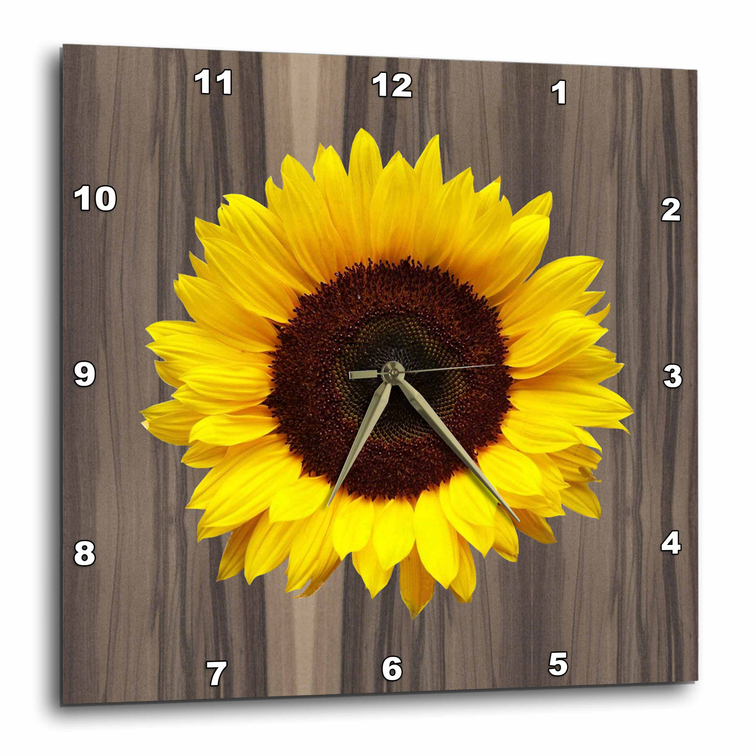 3dRose Wood Image with Sunflower, Wall Clock, 10 by 10-inch