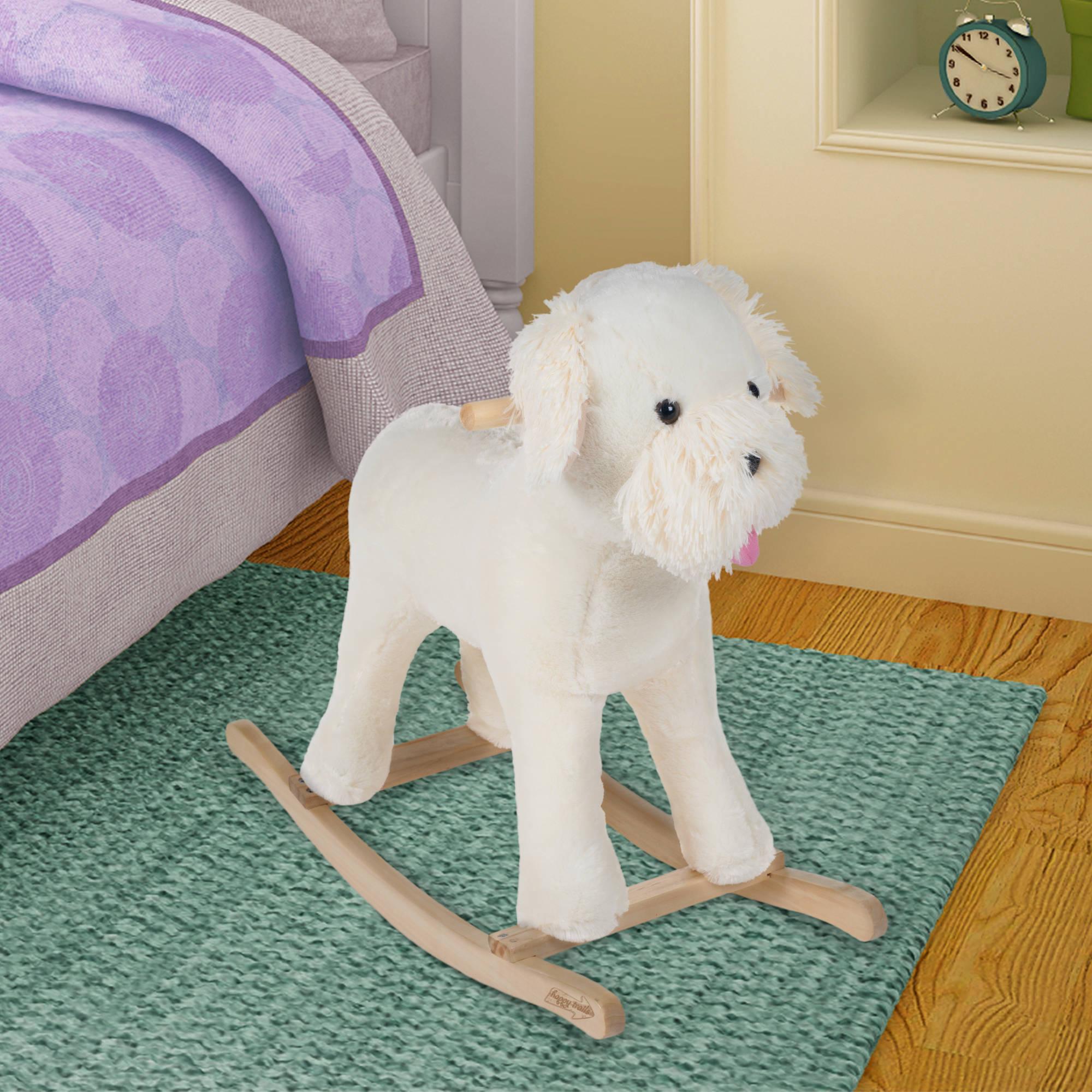 Happy Trails Rocking Animal, White Dog