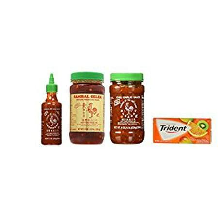 Huy Fong Sriracha 9oz + Chili Garlic Sauce 8oz+ Sambal Oelek 8oz Assorted Favorite Asian Sauces 3-Pack Exclusive Bundle Plus a Free Gift Trident