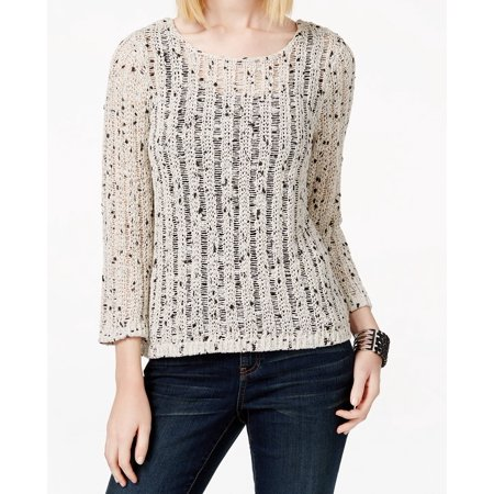INC NEW Beige Womens Size Large L Marled-Knit  Scoop Neck Sweater