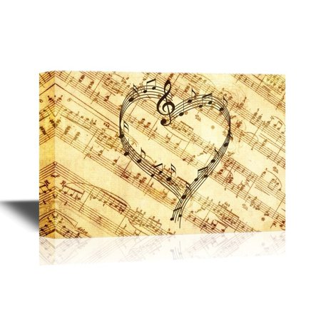wall26 Canvas Wall Art - Music Notes Forming a Heart Shape - Gallery Wrap Modern Home Decor | Ready to Hang - 12x18 inches