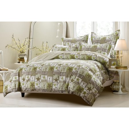 6pc patchwork green brown bedding set includes comforter - Green and brown comforter ...