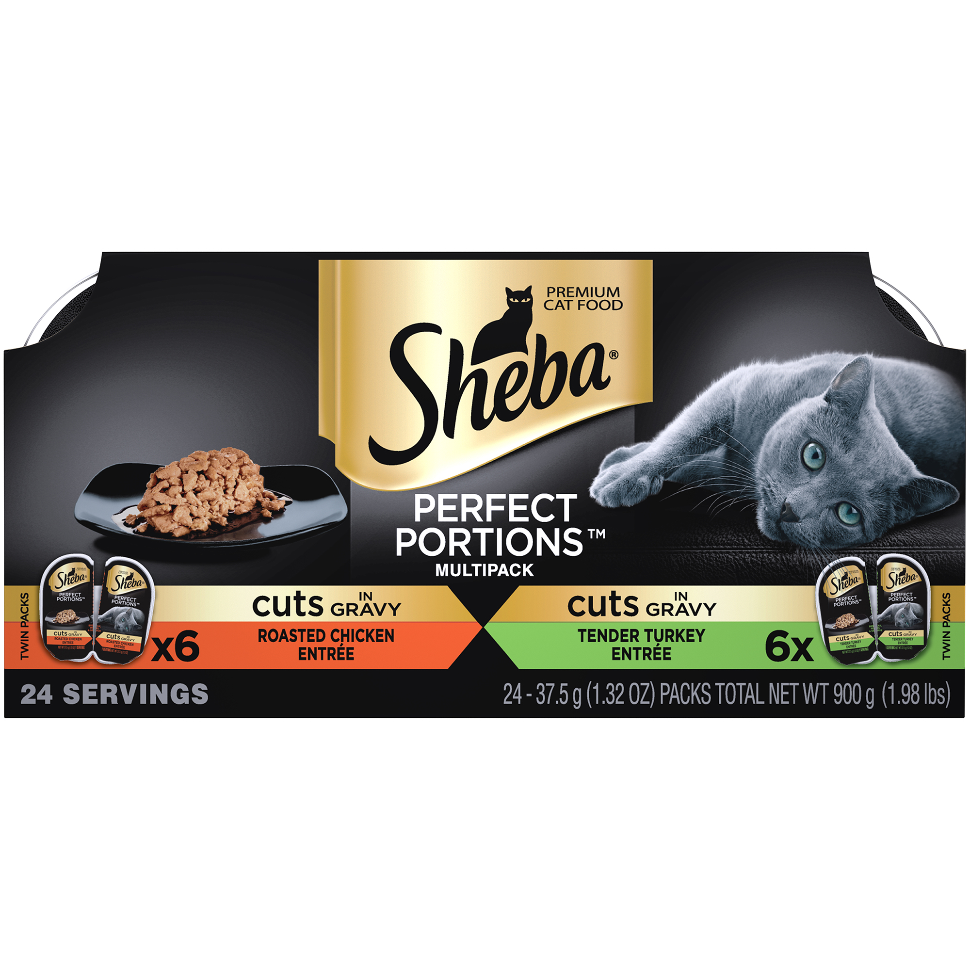 SHEBA PERFECT PORTIONS Wet Cat Food Cuts in Gravy Roasted Chicken Entree & Tender Turkey Entree Variety Pack, (12) 2.6 oz. Twin-Pack Trays