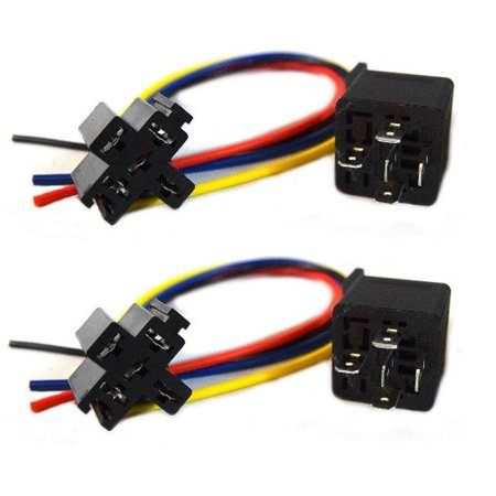 2 Pack 5 Wire Relay Socket ERS-124 and (2) 40 Amp Relay Audiopipe Car