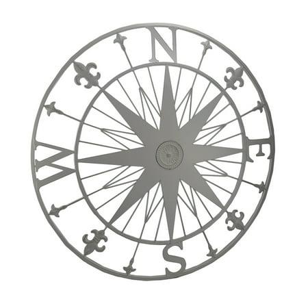 Compass Rose Fleur De Lis Vintage Finish Metal Wall Hanging - Fleur De Lis Metal
