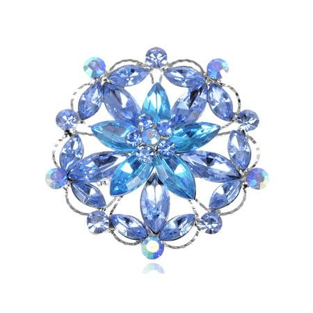 Elegant Sapphire Aqua Blue Crystal Rhinestone Flower Wreath Fashion Pin Brooch