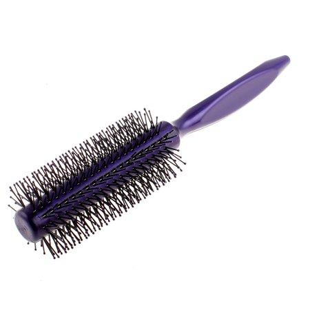 Lady Plastic Triangle Handle Radial Curly Hair Roll Brush Purple 21cm -