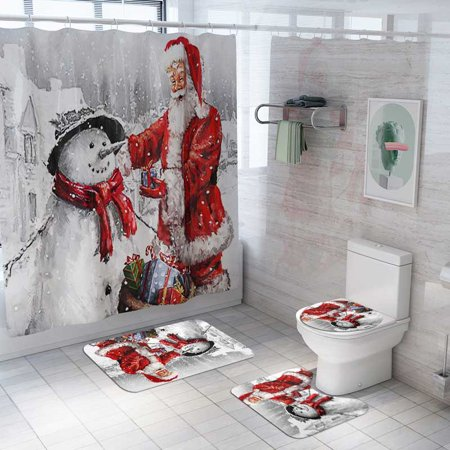 Fysho Christmas Flannel Fabric Shower Curtain With 3pcs Toilet Cover Mats Non-Slip Rugs Sets, For Bathroom Decor - Snowman & Santa Claus Pattern ()