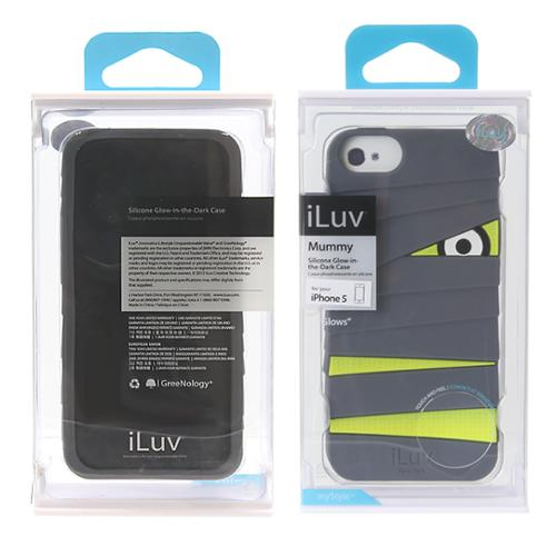 iLuv Mummy Glow-in-the-Dark Silicone Protector Case for Apple iPhone 5 - Grey