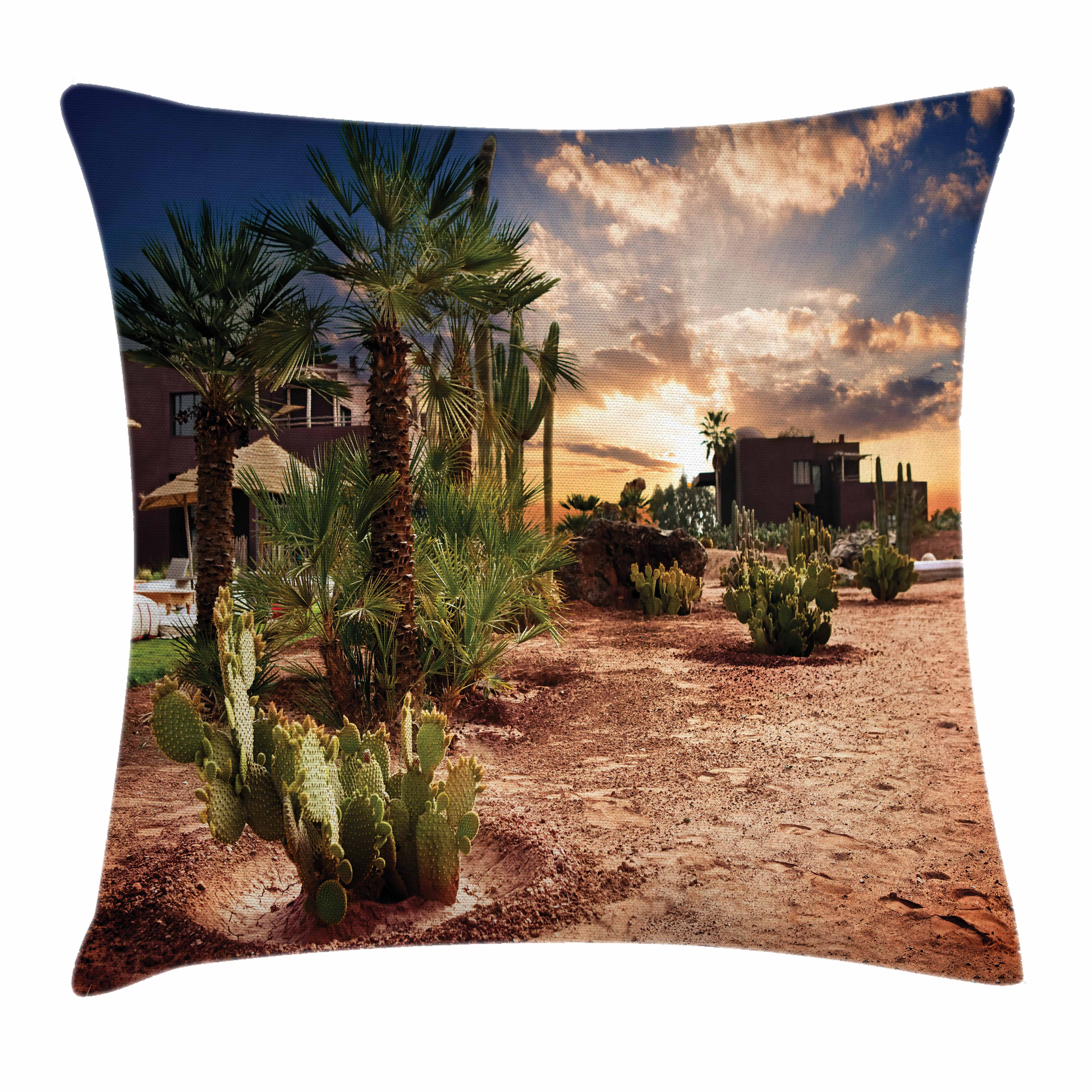Desert Throw Pillow Cushion Cover, Majestic Sky View Palm Trees and Cactus in Oasis Morocco Tropic Nature, Decorative Square Accent Pillow Case, 16 X 16 Inches, Blue Green Pale Brown, by Ambesonne