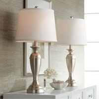 Regency Hill Modern Table Lamps Set of 2 Brushed Steel Metal White Drum Shade for Living Room Family Bedroom Bedside Nightstand